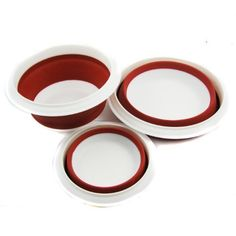 Set of Healthy Diet Fae Silicone Pet Expandable/Collapsible Travel Bowl with Lid - Color: Red, 3 Sizes: 1.5, 2.5 and 4.5 Cups $19.99