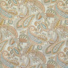 Orange Fabric for Upholstery and Drapery Use. Textures Patterns, Fabric Patterns, Paisley Wallpaper, Greenhouse Fabrics, Paisley Fabric, Orange Fabric, Blue Quilts, Bird Drawings, Retro Design