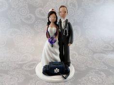 Personalized Doctor & EMT Nurse Wedding Cake Topper by mudcards, $150.00