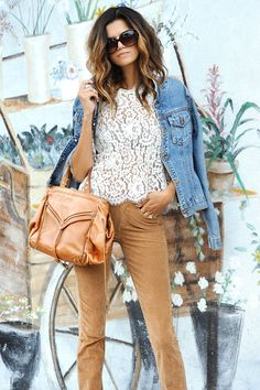 Carly Kenihan in the JOIE Elvia Lace Top
