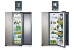 Geladeira Side by Side Food Showcase Inox Look com sistema All Around Cooling™ Freezers, French Door Refrigerator, Bathroom Medicine Cabinet, Locker Storage, Kitchen Appliances, Furniture, Home Decor, Muslim Fashion, Frost