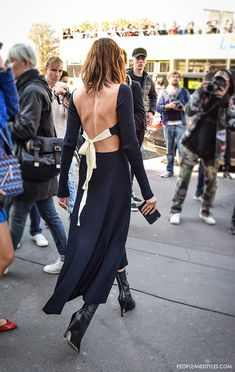 Christine Centenera and Yasmin Sewell and in Celine backless knit dress, Paris street style fashion