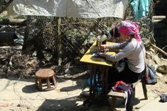 Woman making traditional clothing