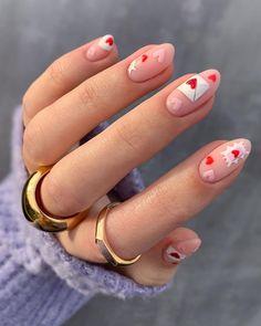 Chic Nails, Trendy Nails, Swag Nails, Classy Nails, Heart Nail Designs, Valentine's Day Nail Designs, Nails Design, Beautiful Nail Designs, Deep Red Nails