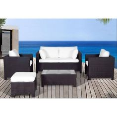 Patio Conversation Set White Wicker and Turquoise CREMA | Patio ...