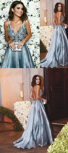 formal beaded top grey v-neck backless long prom dress, PD8589
