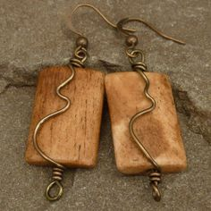 Wood and Swirled Brass Wire Wrapped Earrings jewelry Natural Jewelry, Handmade Necklaces and Handmade Earrings by TBeads Driftwood Jewelry, Wooden Jewelry, Copper Jewelry, Natural Jewelry, Wire Jewelry Designs, Jewelry Crafts, Jewelry Art, Jewlery, Wooden Earrings