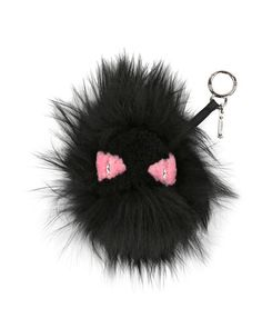 V2RGT Fendi Monster Mixed-Fur Charm for Handbag, Black/Pink