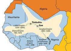 West African Empires Map | River and the main empires of West Africa are indicated on this map ...