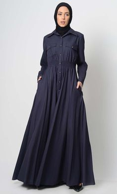 Your Everday Button Down Abaya. A perfect wardrobe piece for eveyday purpose. Simple and classy abaya with shirt collar. A stylish abaya includes button down and elastic waist, Includes both side pockets style Outfit Essentials, Modest Wear, Modest Outfits, Abaya Fashion, Modest Fashion, Modern Abaya, Ray Bans, Moslem Fashion, Kaftan Style