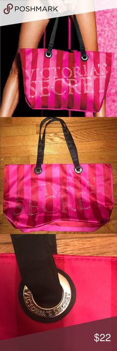 VICTORIA SECRET SATIN STRIP TOTE Brand new item - never used/carried. One of the nicest totes VS ever did. Outer is a heavyweight satin material. Victorias Secret logo spelled out in silvertone studs. Victoria's Secret Bags Totes