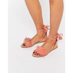 ASOS   FLASHY   Wildleder-Sandalen mit Beinschnürung und Fransen - Rosa