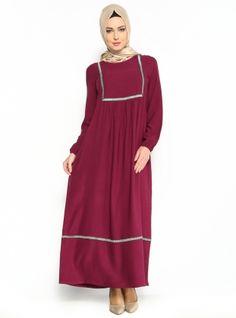 Nakışlı Piliseli Elbise - Mürdüm - Cml Collection