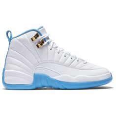 "Air Jordan 12 Retro GS ""University Blue"" ❤ liked on Polyvore featuring shoes"