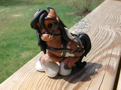 Clay pony, horse, Flakey 'n Friends, Tangled Tails by PonyGurl, sculpture