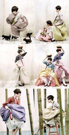Vogue Korea Octobre 2007 par Kim Kyung soo Série de photographies qui sont une citation des hanboks coréen.