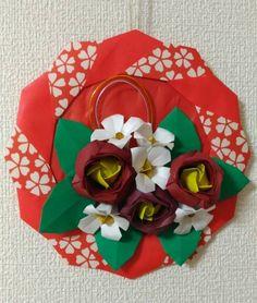 折り紙 リース お正月 椿 ハンドメイド 壁面飾り(試作)_画像1