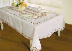 RIVE GAUCHE SPRING FLOWER EMBROIDERED TABLECLOTH - BEIGE
