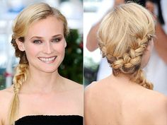 The 10 Best Cannes Braid Moments ... Ever | DIANE KRUGER | It's not quite a side braid, it's not quite traditional and it's not quite a fishtail. In short, it's uniquely Diane, and that's why we love it.