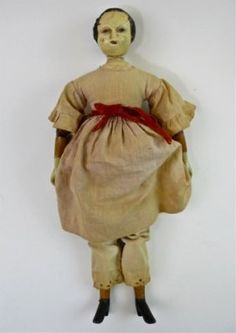 19th C.  Wooden Doll, JOEL ELLIS, Springfield, VT www.JJamesAuctions.com
