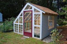 Old Window Greenhouse, Diy Greenhouse Plans, Backyard Greenhouse, Small Greenhouse, Greenhouse Shelves, Recycled Door, Recycled Windows, Old Windows, Antique Windows