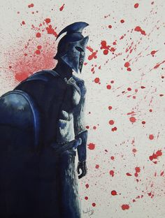 Inktober Day 24: Painted a Spartan warrior off of a 300: Rise of an Empire poster. And of course you can't do something off of 300 without having blood splatters. Still trying to grasp humans.