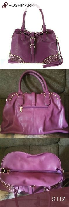 "WHITNEY SATCHEL Brand new, bought on line @ Macy's. Its a beautiful plum color, and has 1 interior zip pocket,  And 2 interior smaller pockets.  Comes with an extra strap, for crossbody. Made of faux leather,  has magnetic closure.  Carry handles, and shoulder strap. 16""L. 7"" D  11"" high. Has very nice studing on the bag. Also has a zip pocket on the back for storage. Imoshion Bags Satchels"