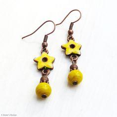 copper earrings with yellow enamel (S-241a) van Dome's Design op DaWanda.com