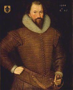 Rear-Admiral Sir John Browne (1559–1627),attributed to Robert Peake the Elder, 1604.  Dorset County Museum 66 High West Street, Dorchester, Dorset, England, DT 1XA  Digitally enhanced version.