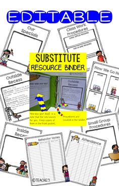 Back to School: Time to prepare your Substitute Resource Binder. Great for emergency sub plans, long term leaves, maternity leaves, or when you get pulled from class at the last minute. $