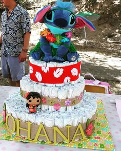 Lilo and Stitch themed diaper cake for Kenzie Lilo And Stitch Cake, Lelo And Stitch, Lilo Y Stitch, Luau Baby Showers, Baby Shower Games, Baby Shower Parties, Baby Boy Shower, Baby Shower Gender Reveal, Baby Gender