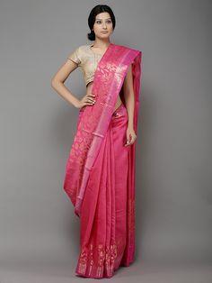 Description: This is a handwoven banarasi saree woven by local artisans of Banaras. The saree has gold zari weaving. It might have slight irregularities because