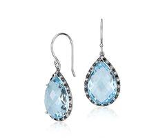 Robert Leser Blue Topaz and Diamond Pear Drop Earring in 14k White Gold