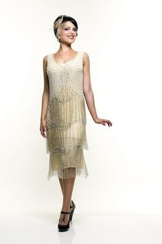 Ivory & Silver Beaded Fringe Reproduction Flapper Dress - XS to - Unique Vintage - Cocktail, Pinup, Holiday & Prom Dresses. Vintage Flapper Dress, Beaded Flapper Dress, Beaded Evening Gowns, Flapper Style, 1920s Dress, Retro Dress, Flapper Dresses, Vintage Prom, Flapper Outfit
