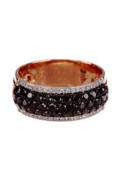 Effy 14K Rose Gold Diamond & Black Diamond Row Band RIng