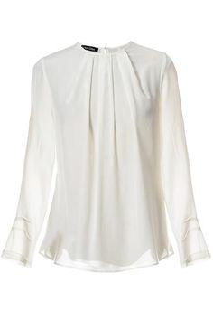 NEVEAH Silk Pleated Ivory Blouse