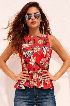 2017 Spring Collection | Women's Red Tropical Top by Alexia Admor