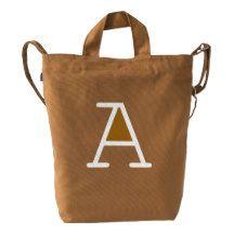 Custom Letter A Initial Monogram BAGGU Duck Bag Duck Canvas Bag