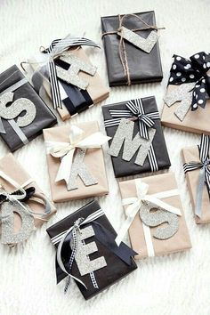 initials-gift-wrapping Emballage Cadeau 20 Unique & Creative Gift Wrapping Ideas That'll Impress Everyone Christmas Present Wrap, Christmas Gift Wrapping, Diy Christmas Gifts, Holiday Gifts, Christmas Decorations, Birthday Wrapping Ideas, Gift Wrapping Ideas For Birthdays, Christmas Ornaments, Christmas Christmas