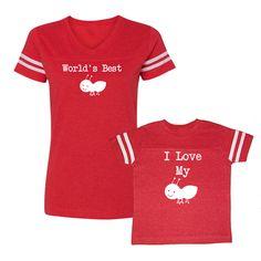 We  Match! ** World's Best Aunt (Ant) I Love My Aunt (Ant) ** Women's V-Neck Football T-Shirt & Kids T-Shirt RED (V7248/7249WHT)