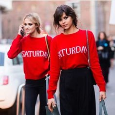 @noelcapri and @georgiafowler wear the #Saturday sweaters to welcome weekend!