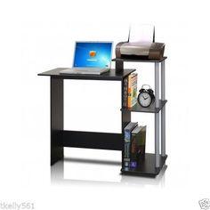 Computer Desk Home Office Furniture Storage Side Shelf Work Station Black Wood  #Furinno