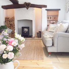 This classic country cottage with a woodburner and grey sofa is just beautiful, don't you think? Country Cottage Living Room, Country Cottage Interiors, My Living Room, Country Cottages, Cottage Bedrooms, Cottage House, Cottage Style, Modern Country, Country Decor