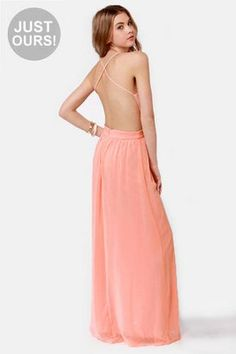 LULUS Exclusive Rooftop Garden Backless Peach Maxi Dress #Glimpse_by_TheFind