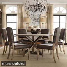 Shop for SIGNAL HILLS Benchwright Rustic X-base Round Pine Wood Nailhead 7-piece Dining Set. Get free delivery at Overstock.com - Your Online Furniture Shop! Get 5% in rewards with Club O!