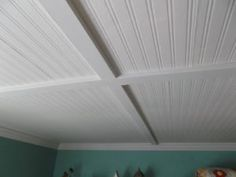 Beadboard Wallpaper On Ceiling Tiles