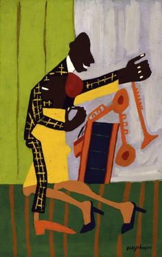 """William H. Johnson created four paintings of the jitterbug, a dance craze that came out of Harlem and made its way into America's """"swing"""" culture just before the Second World War. Here, the woman dips dramatically into the arms of her partner so that the two figures become one shape of contrasting William H Johnson, Henry Johnson, African American Artist, American Artists, Carolina Do Sul, Pop Art, Art Brut, Harlem Renaissance, Cultural"""