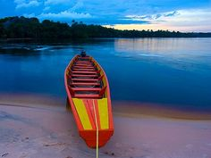 Typical boat to ride on the Canaima lagoon at Canaima National Park, Venezuela