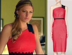 Mistresses episode 11: Joss' (Jes Macallan) red and black, one-shoulder Roland Mouret Darnay dress #mistresses #getthelook