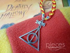 2013 Deathly Hallows Christmas Ornament in Gryffindor Colors with Optional Custom Hogwarts Letter- Perfect for Harry Potter Fans